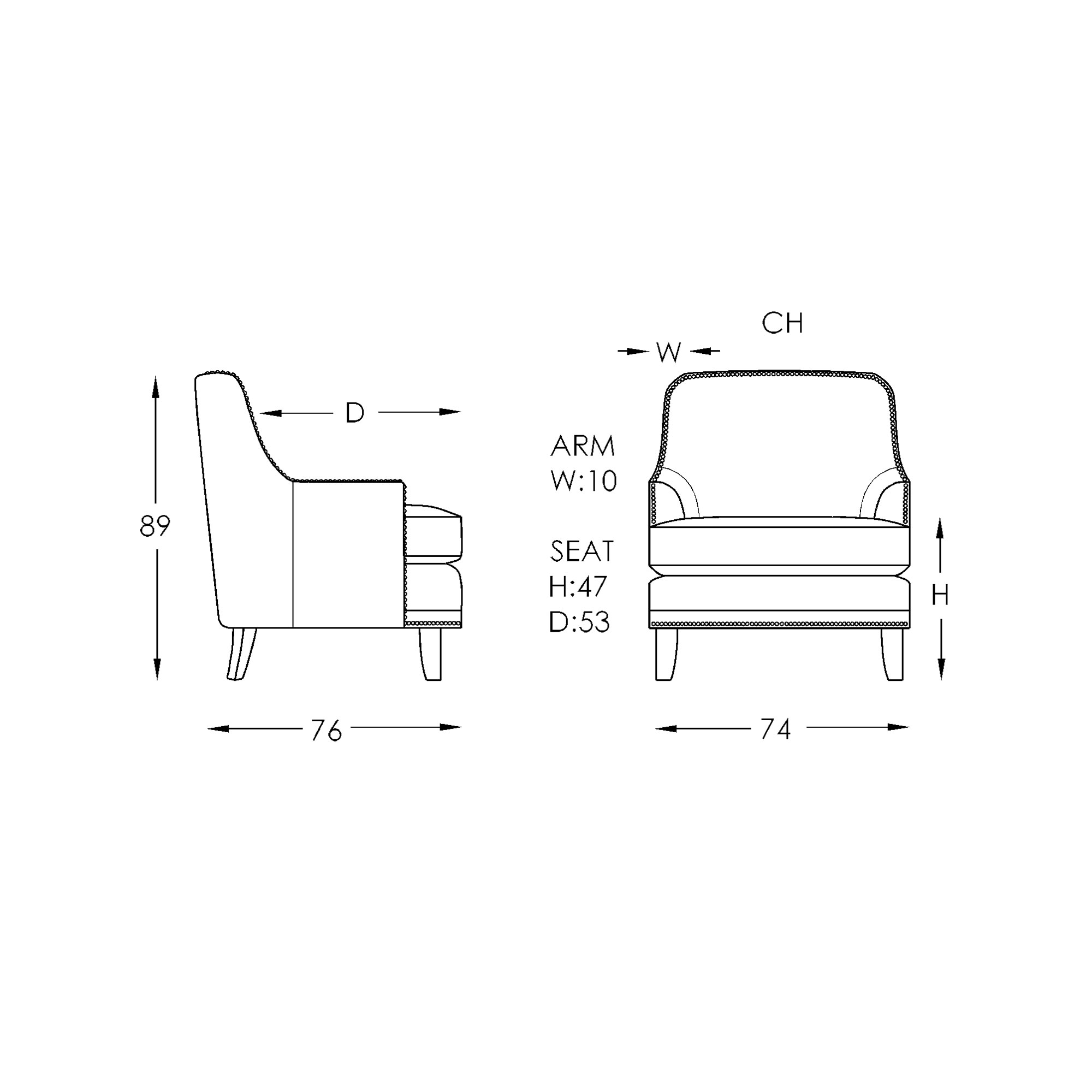Moran Carter Accent Chair Dimensions