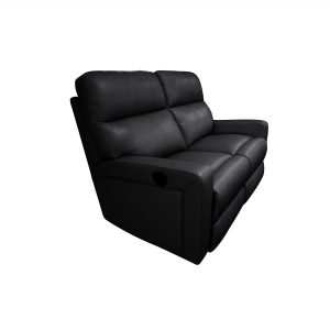 Moran Sultan 2 Seater Ebony Leather Angle View