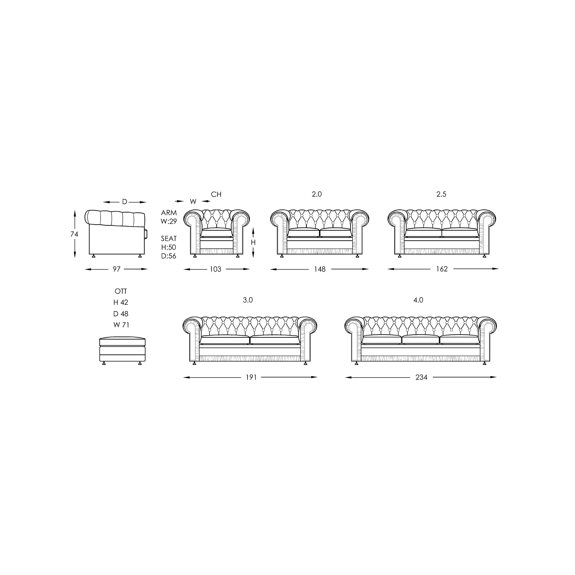 Moran Chester Sofa Dimensions