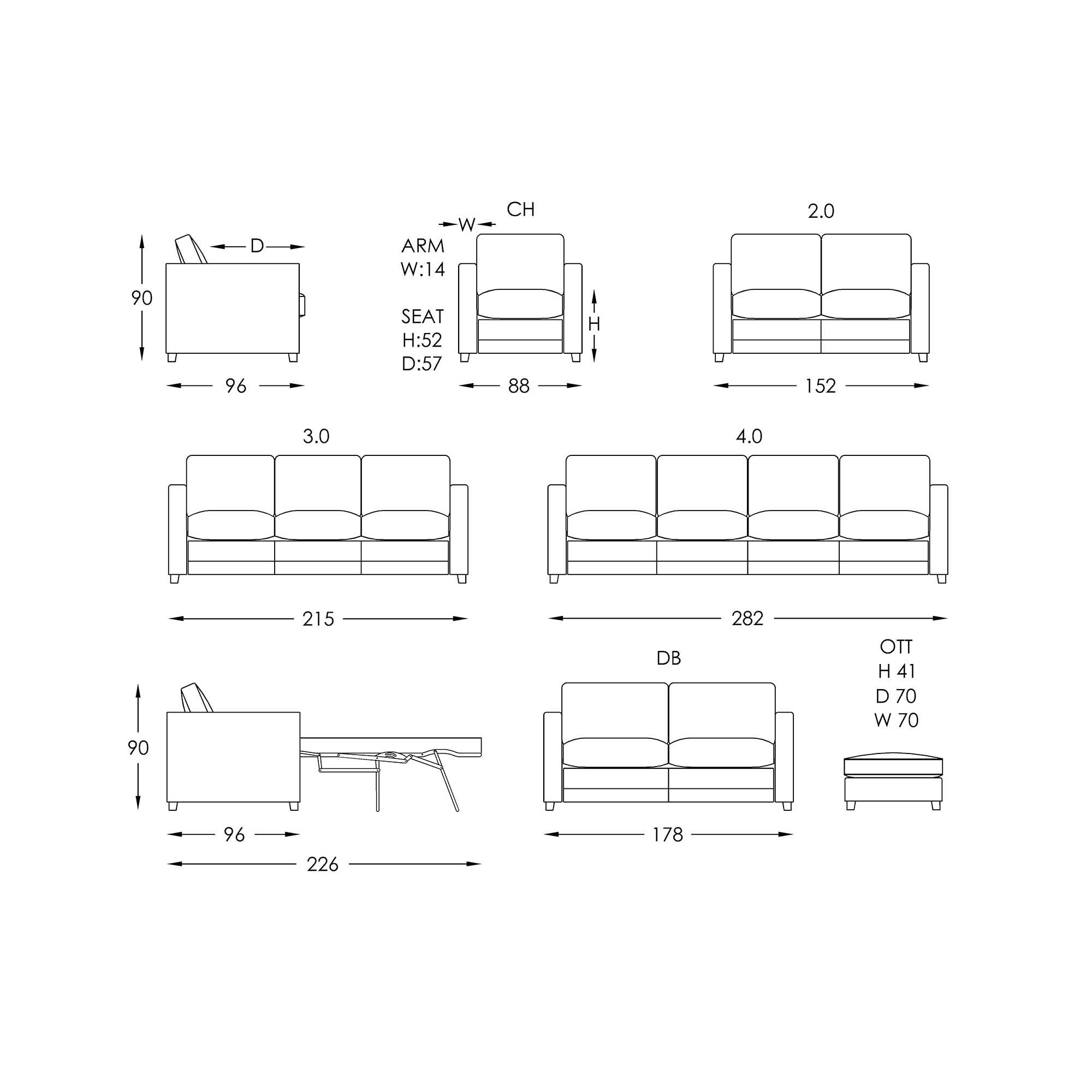 Moran Brubeck Sofabed Dimensions